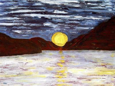 Sunrise Over Water Painting - Irish Landscape 17 by Patrick J Murphy