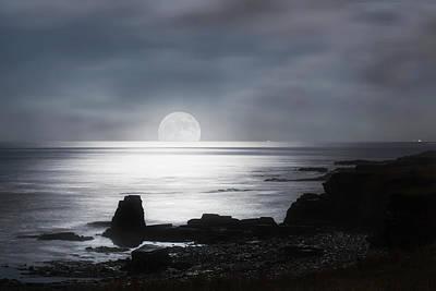 Sun Moon And Sky Photograph - Sun Rising Over The Horizon by John Short