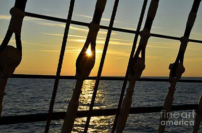 Photograph - Sun Set On A Sailing Ship by Jan Daniels