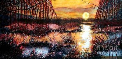 Sun Sets On The Marsh Art Print by Janine Riley