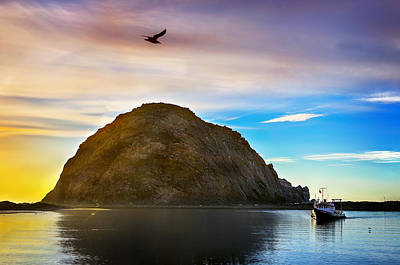 Morro Bay Digital Art - Sun Setting At Morro Bay by Camille Lopez