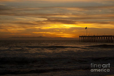 Photograph - Sun Setting Behind Santa Cruz With Ventura Pier 01-10-2010 by Ian Donley