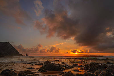 Photograph - Sun Setting On The Beach I by Marco Oliveira