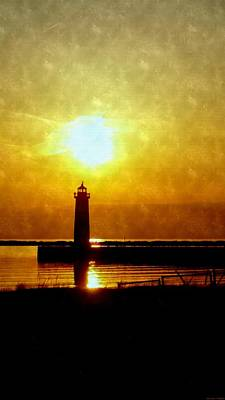 Lake Michigan Drawing - Sun Setting On The Lighthouse At Muskegon Pier by Rosemarie E Seppala