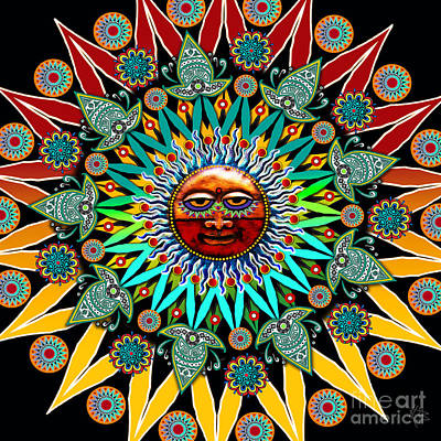 Aztec Digital Art - Sun Shaman by Christopher Beikmann