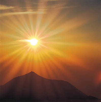 Sun Shinning Over The Mountain Art Print