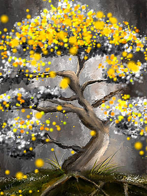 Painting - Sun Showers - Yellow And Gray Art by Lourry Legarde