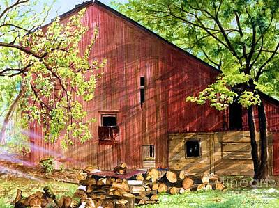 Old Barn Painting - Sun Stroked by Barbara Jewell