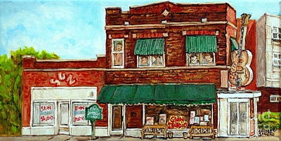 Beale Street Painting - Sun Studio Memphis Birthplace Of Rock N Roll Street Scene Paintings Tennessee Attractions C Spandau by Carole Spandau