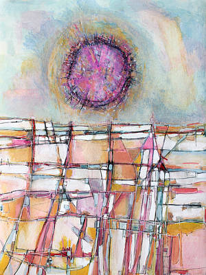 Hari E. Thomas Abstract Painting - Sun And City by Hari Thomas