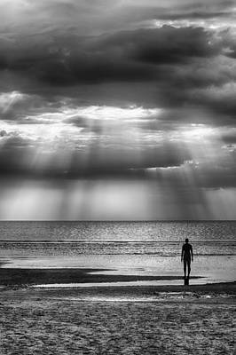 Photograph - Sun Through The Clouds In Black And White by Leah Palmer