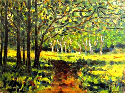 Pathway Painting - Sun Through The Trees by John  Nolan