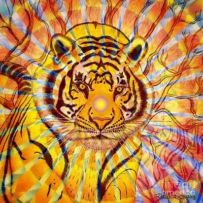 Visionary Art Painting - Sun Tiger by Joseph J Stevens