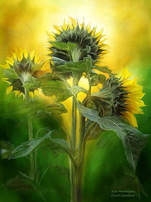 Sunflower Mixed Media - Sun Worshipers by Carol Cavalaris
