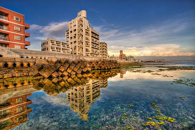 Photograph - Sunabe Seawall Reflections by Chris Rose