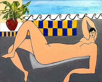 Sunbath A La Matisse Original by Elizabeth  Bogard