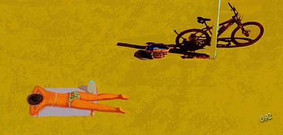 Girl On Bike Painting - Sunbather by CHAZ Daugherty