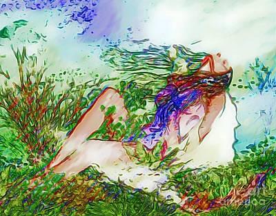 Bathe Digital Art - Sunbathing by Catherine Lott