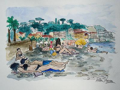 Sunbathing Art Print by Helen J Pearson