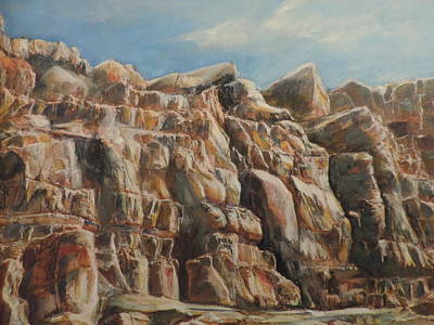 Abiquiu Painting - Sunbathing Rocks At Abiquiu Lake by Margueritte Meier