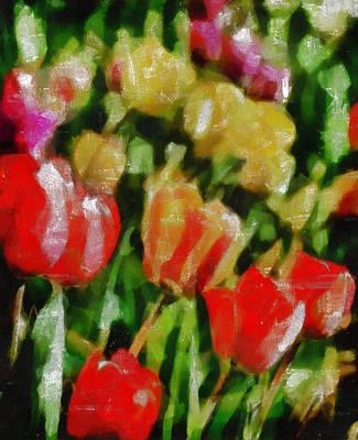 Tempera Mixed Media - Sunbathing Tulips by Angelina Vick