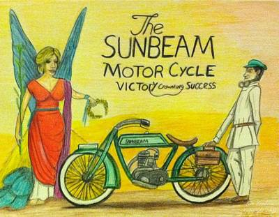 Painter Mixed Media - Sunbeam Motorcycle. by Lars Lambeau