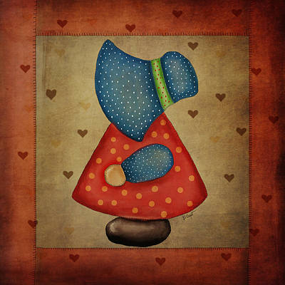 Block Quilts Digital Art - Sunbonnet Sue In Red And Blue by Brenda Bryant