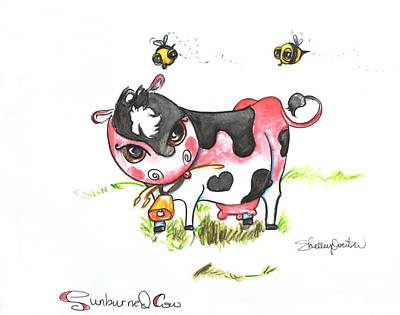 Painting - Sunburned Cow by Shelley Overton