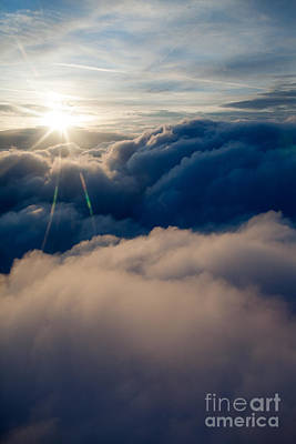 Sunburst Above The Clouds Art Print