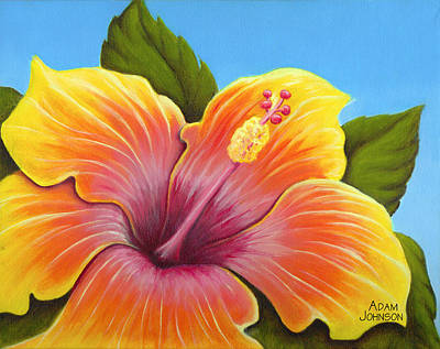 Painting - Sunburst Hibiscus by Adam Johnson