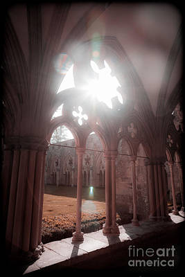 Photograph - Sunburst Through Gothic Arch by Peter Noyce