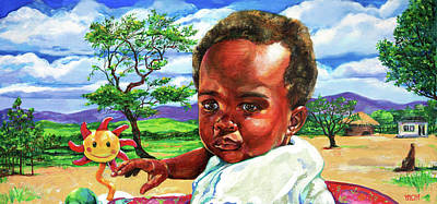 Malawi Painting - Sunchild by Derrick Higgins