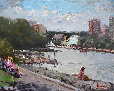 Fishing Painting - Sunday At Port Credit Park Mississauga by Ylli Haruni