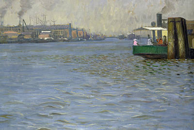 Sunday Atmosphere On The Elbe Art Print