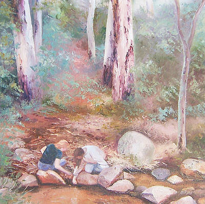 Landscape With Rocks Painting - Sunday By The Creek by Jan Matson
