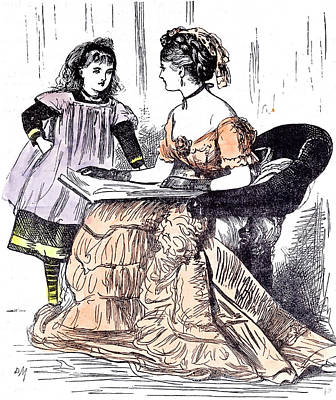 Mums Drawing - Sunday Evening Girl And Mother 1874 Book Reading Sitting by English School
