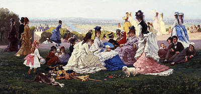 Sunday Picnic Painting - Sunday In Bellevue by Gabriel-Amable de Lafoulhouze