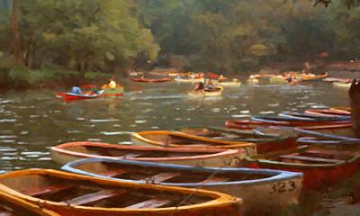 Rowboat Digital Art - Sunday In Chapultepec Park by Spyder Webb