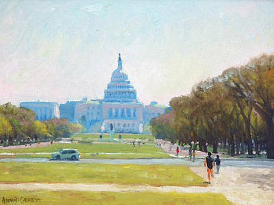 Library Painting - Sunday Morning At The Capitol by Armand Cabrera