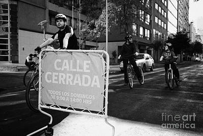sunday morning roads closed for cyclists and walkers Santiago Chile Art Print by Joe Fox