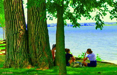 Summer Along The Canal Painting - Sunday Picnic On The Lake Maple Trees At The Canal Pte Claire Montreal Waterscene Carole Spandau by Carole Spandau