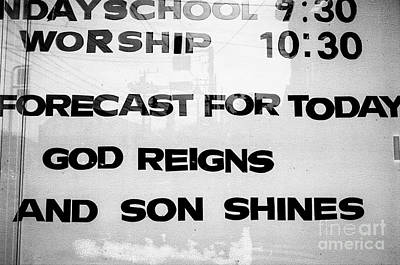 Photograph - Sunday School Worship - God Reigns And Son Shines by Dean Harte