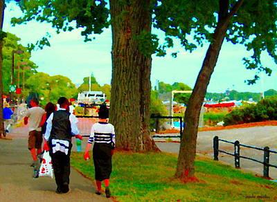 Summer Along The Canal Painting - Sunday Stroll Along The Canal Lakeshore Drive Hasidic Couple Park Scene  Montreal Art Carole Spandau by Carole Spandau