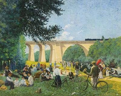 Sunday Picnic Painting - Sunday Summer At The Edge Of The Marne by Celestial Images