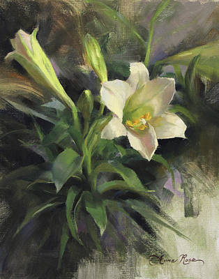 White Lily Painting - Sunday's Lily by Anna Rose Bain