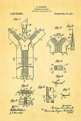 Zipper Photograph - Sundback Zipper Patent Art 1917 by Ian Monk