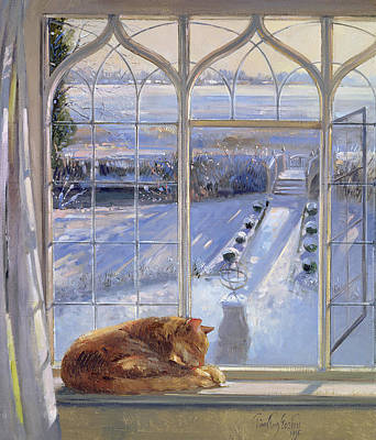 Winter Light Painting - Sundial And Cat  by Timothy Easton