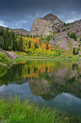 Big Cottonwood Canyon Photograph - Sundial Peak Reflected In Lake Lillian by Howie Garber