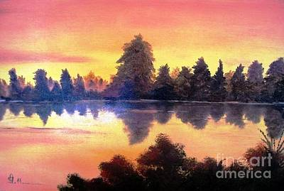 Art Print featuring the painting Sundown by AmaS Art