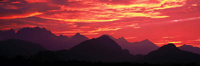 Sundown Austrian Mts South Bavaria Art Print by Panoramic Images